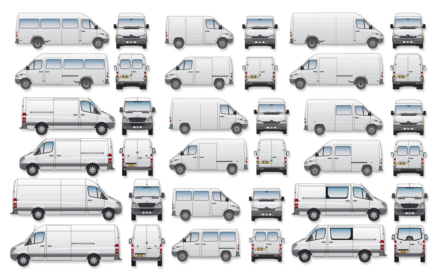 Bevorzugt Benz Sprinter Signwriter's vector drawings, blueprints (Complete Set) TB83