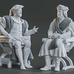 Untextured 3D model figures by Bob Marshall