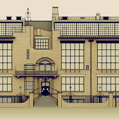 Animated 3D model of the Mackintosh Building, Glasgow School of Art