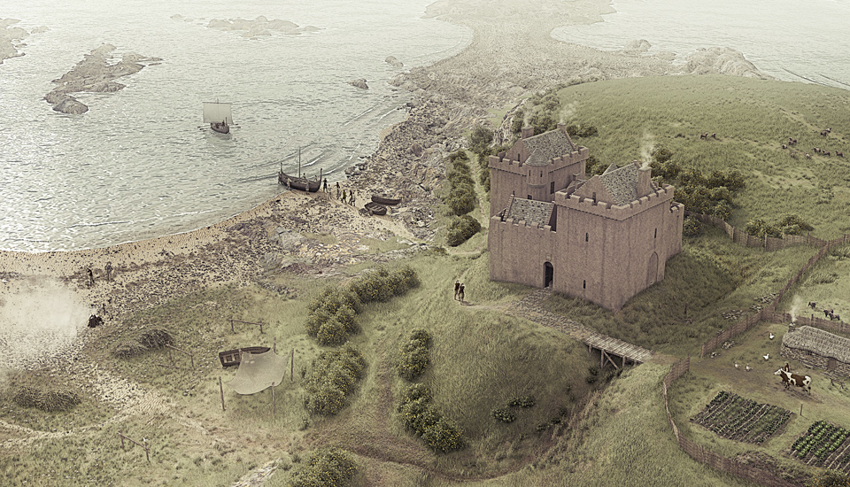 Ardrossan Castle Illustrated Reconstruction by Bob Marshall