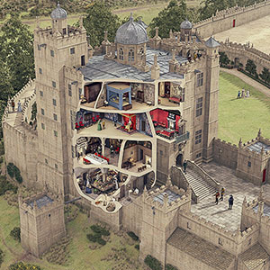Illustrated historical reconstruction of Bolsover Little Castle, Derbyshire