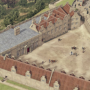 Illustrated historical reconstruction of Bolsover Castle Terrace, Derbyshire