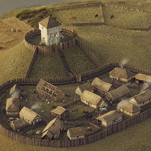Digital reconstruction of Duffus Castle in 1151 by Bob Marshall