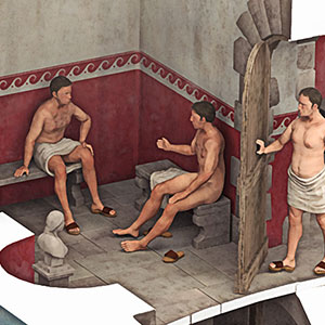 An illustrated cutaway reconstruction of Bearsden Roman Bath House