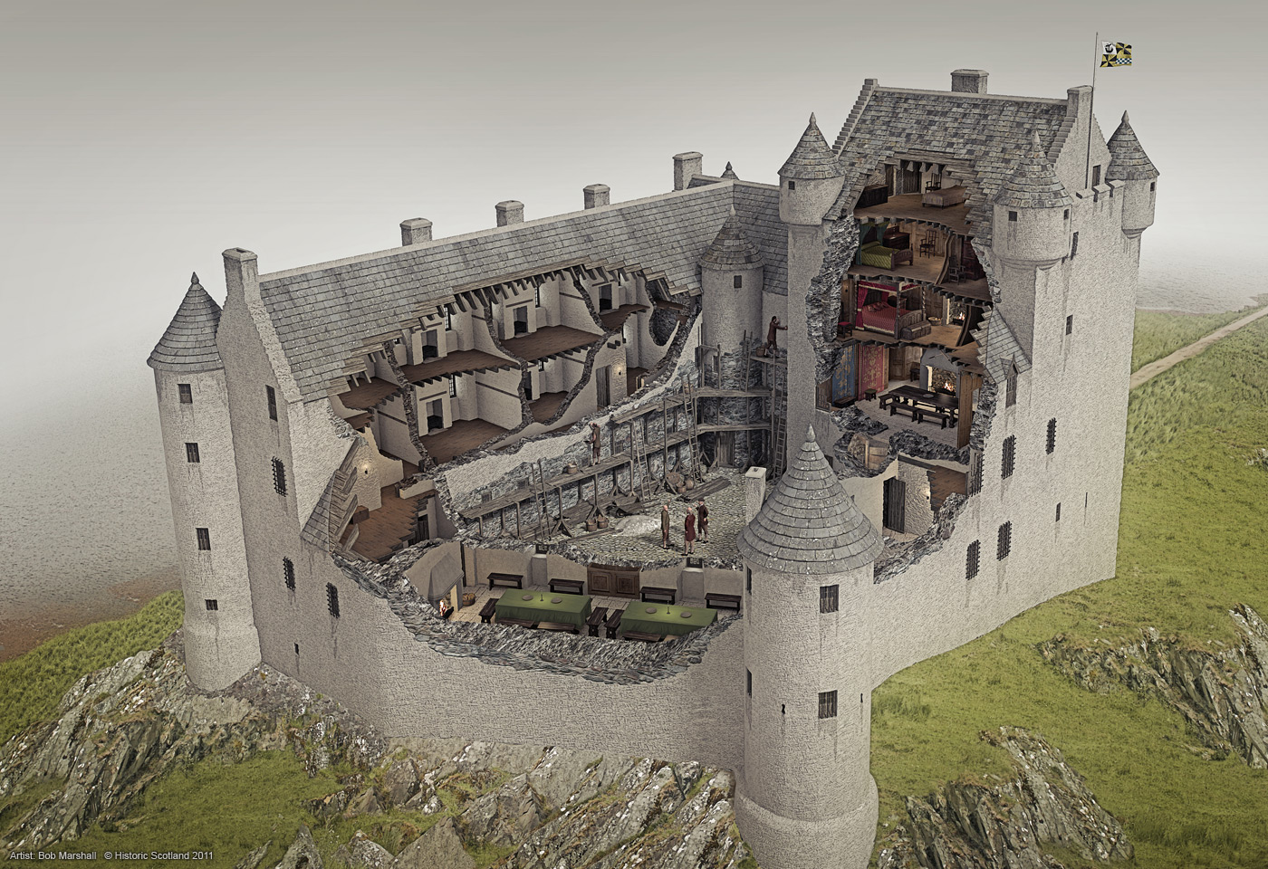 4e875587e6 Kilchurn Castle - illustrated historical reconstruction