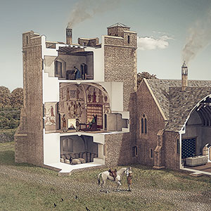 Illustrated historical reconstruction of Longthorpe Tower, Peterborough