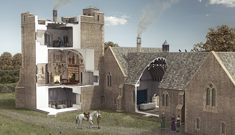 Longthorpe Tower Illustrated Reconstruction by Bob Marshall