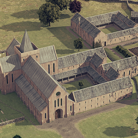 Illustrated historical reconstruction of Strata Florida Abbey, Wales