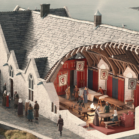 Illustrated reconstructions of Tintagel Castle, Cornwall